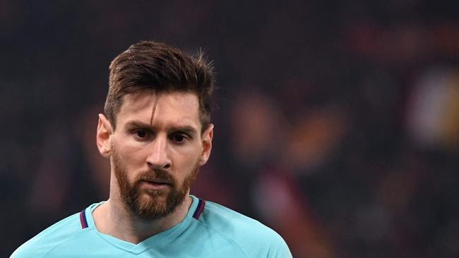 FC Barcelona's Argentinian forward Lionel Messi reacts