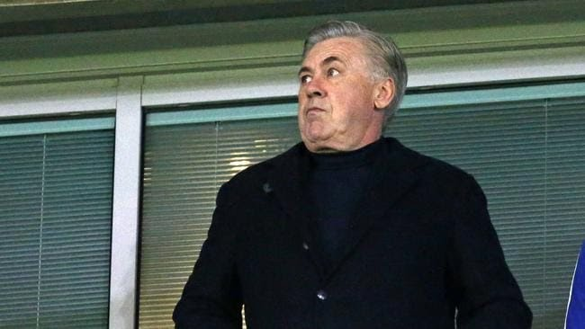 Former Chelsea manager Carlo Ancelotti in the stands at Stamford Bridge.