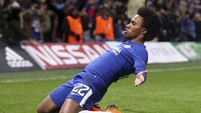 Chelsea's Willian, celebrates scoring his side's first goal